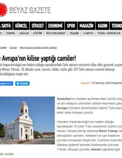 Kiliseye Çevrilen Türk Eserleri gazete haberleri (4)